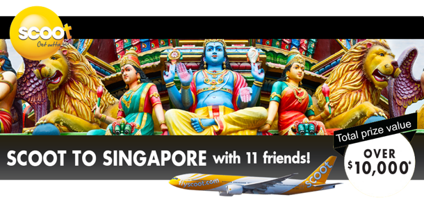 Win a trip to Singapore for you and 11 friends with Scoot