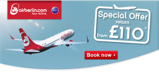 Today only: Air Berlin sale - many tickets from GBP 110