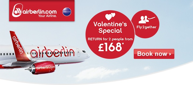 Air Berlin Valentine's Day offer ♥ Flights for 2 people from GBP 168 return