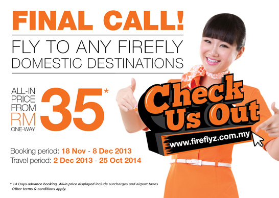 Fly to any Firefly domestic Malaysia destinations for all-in price from RM35* one way