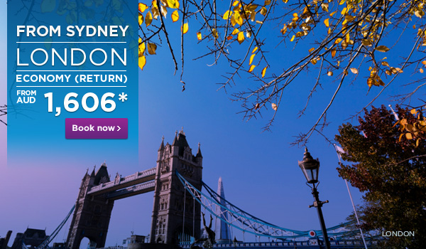 Malaysia Airlines: Sydney to London from $1,606AUD (return)