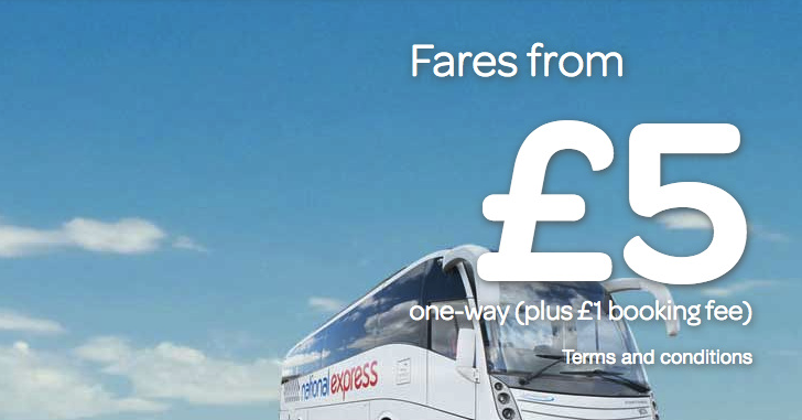 National Express: Bus fares in the UK from 5 Pound one-way