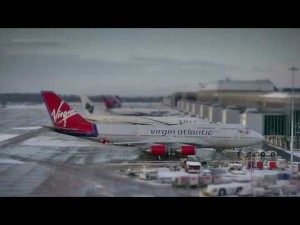 Manchester Airport in tilt-shift timelapse