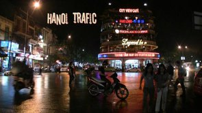 Hanoi crazy night traffic