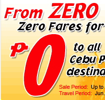 Cebu Pacific: From ZERO to HERO sale – $0 + taxes