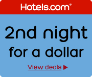 Hotels.com sale – buy one night, get the 2nd night for a dollar